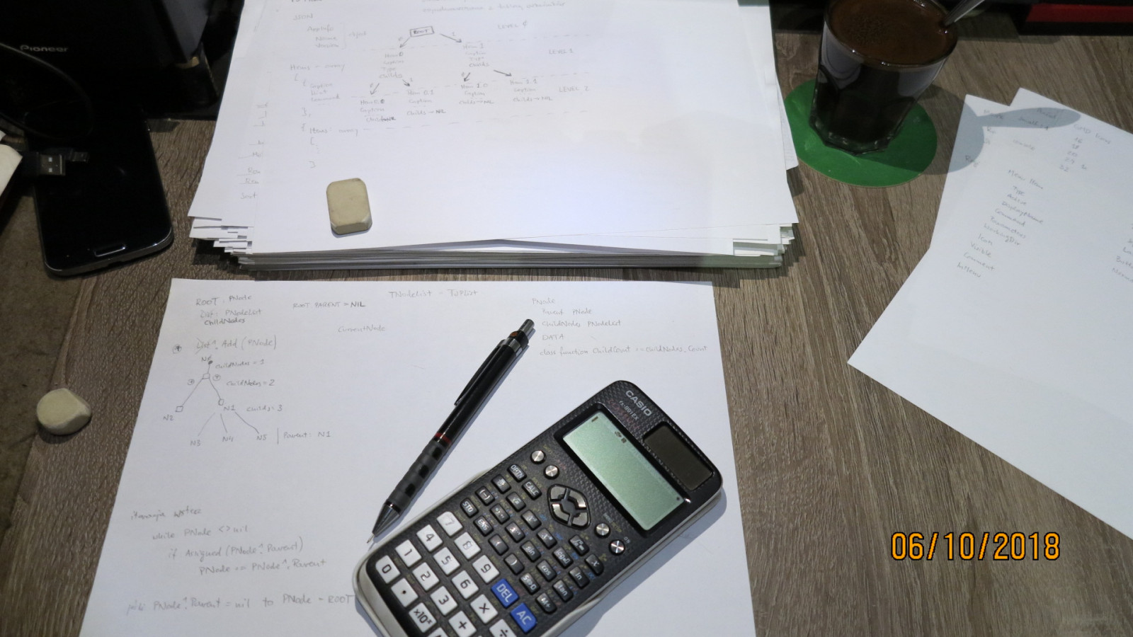 The most important tools in the programmer's work: coffee, sheets of paper, pencil, eraser and hexadecimal calculator.