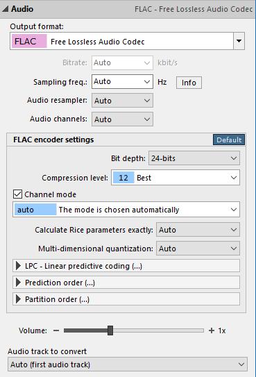 FLAC encoder settings