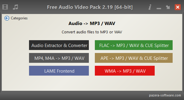 Free Audio Video Pack - Audio -> MP3 / WAV