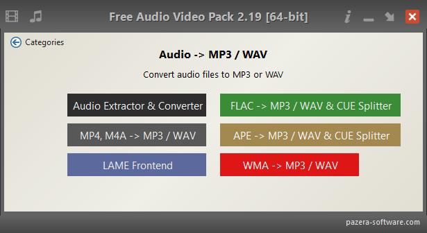 Free Audio Video Pack - Audio -> MP3 / WAV