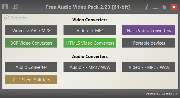Free Audio Video Pack - Main window