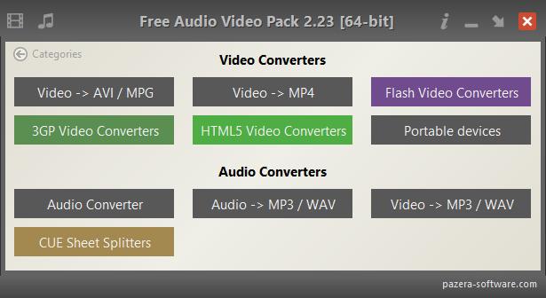 Free Audio Video Pack - Main window