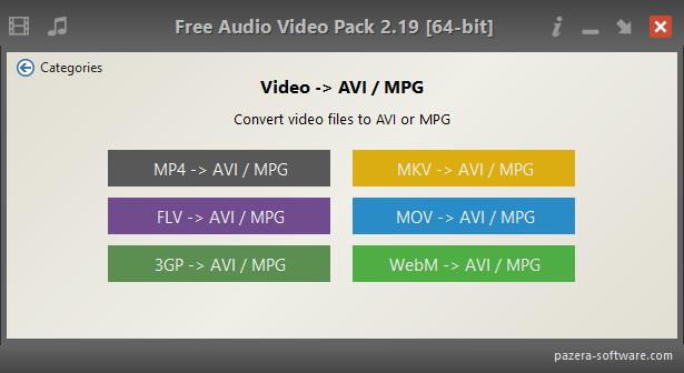Free Audio Video Pack - Video -> AVI / MPG