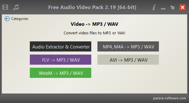 Free Audio Video Pack - Video -> MP3 / WAV