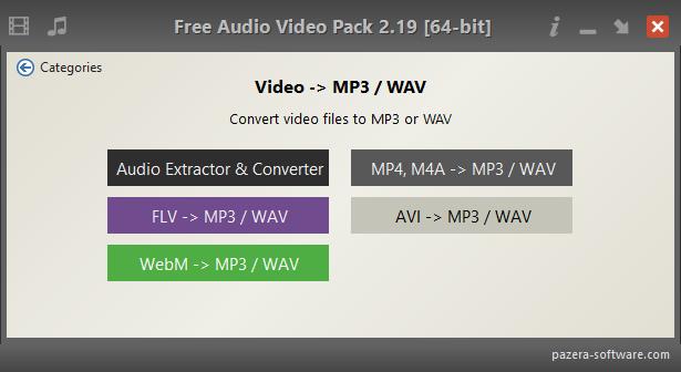 Free Audio Video Pack - Video -> MP3 / WAV