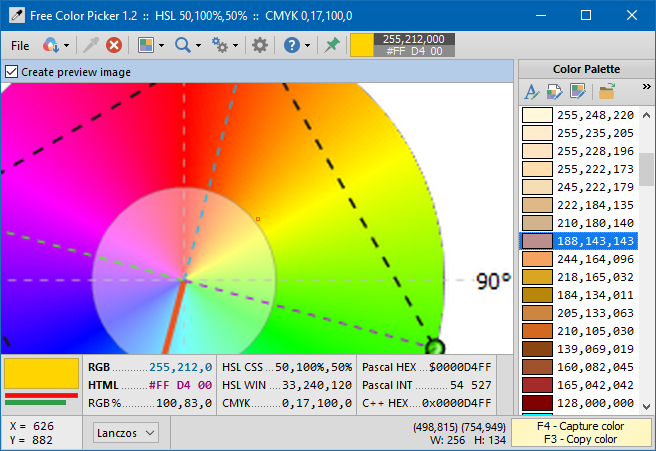 Free Color Picker - Main window