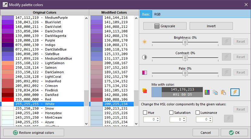 Modify palette colors