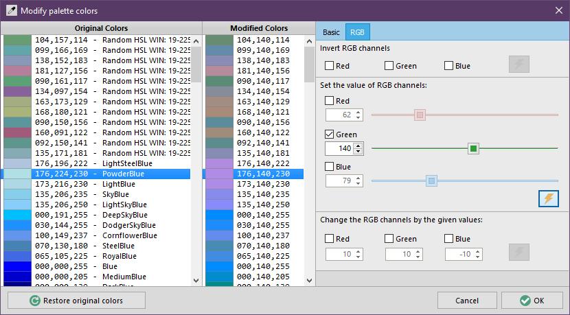 Modify palette colors - RGB