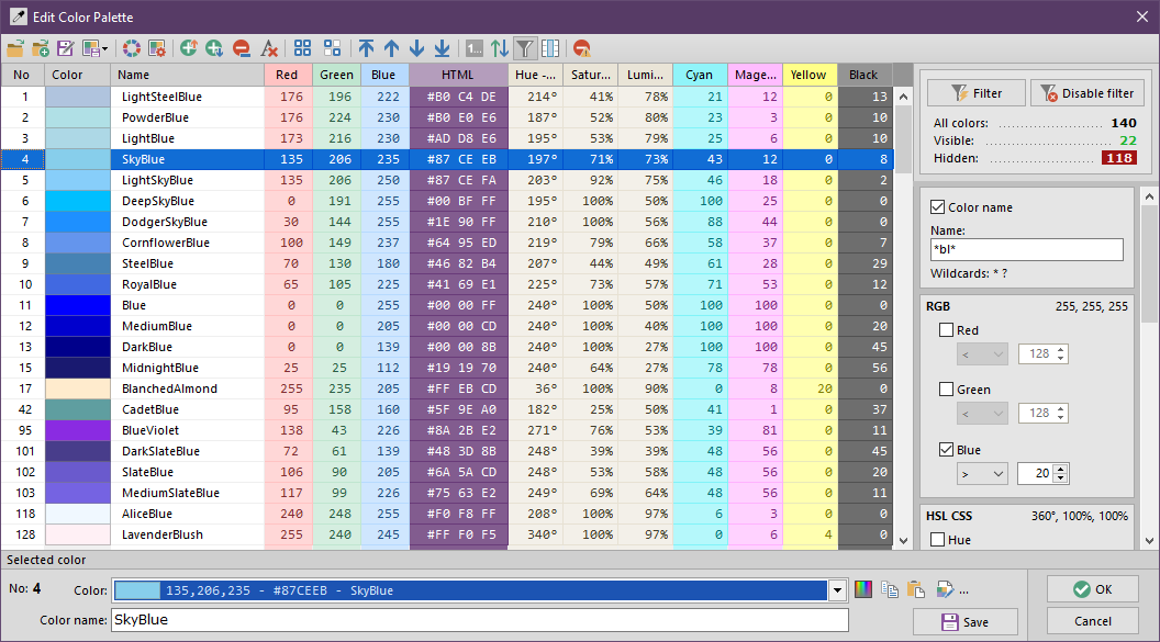Color palette editor