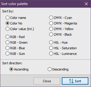 Free Color Picker - Sorting the color palette
