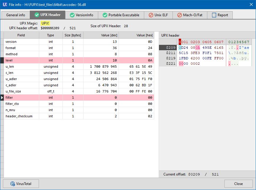 File info - UPX header