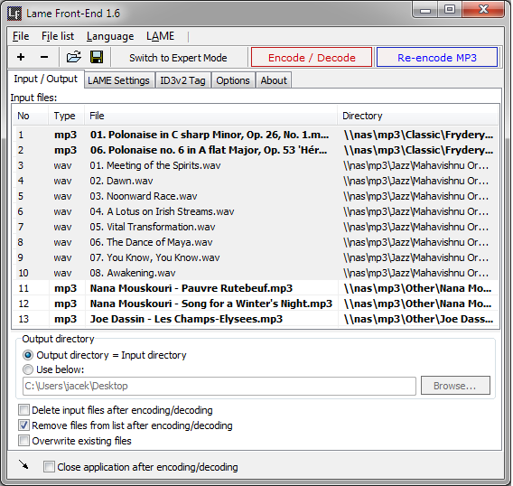 Lame Front-End - GUI for the LAME - Free MP3 converter