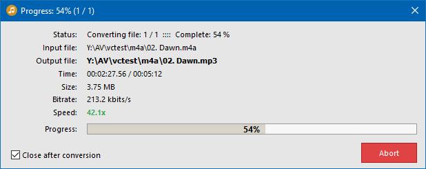 Conversion progress