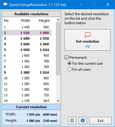 QuickChangeResolution - Main window