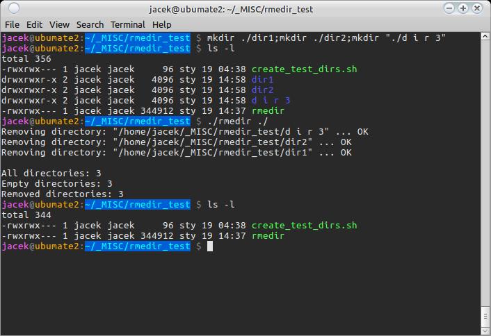 RmEDir on Linux